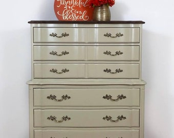 French Provincial Chest | Vintage Chest Of Drawers | Tall Boy | Farmhouse  Dresser | Painted Chest | Vintage Dresser | Bedroom Furniture