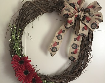 Red Tractor Grapevine Wreath