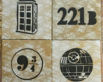 Set of Four Nerdy Canvases: 12x12 Geek Chic Wall Hanging