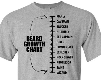 6c5806587 Beard Growth Chart Scale T-Shirt - Hipster Gift Present for Him Dad Son  Brother Funny Tee