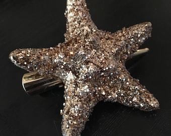 Gold Glitter Sea Star Hair Clip