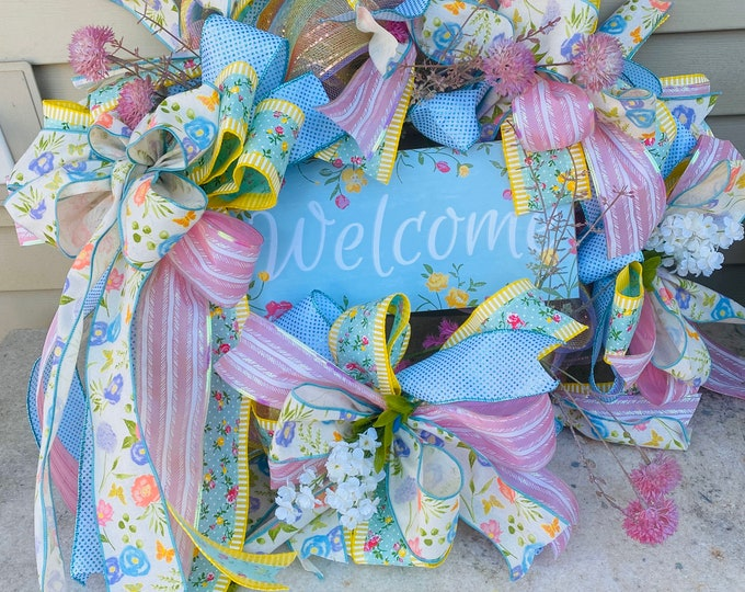 Spring Wreath, Easter Wreath, Front Door Decor, Wall Decor, Holiday Wreath, Flowers Wreath.