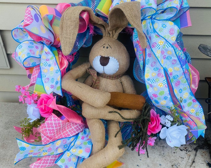 Easter Wreath, Rabbit Wreath, Rabbit with Carrot, Bright Spring Ribbons, Flowers to brighten.