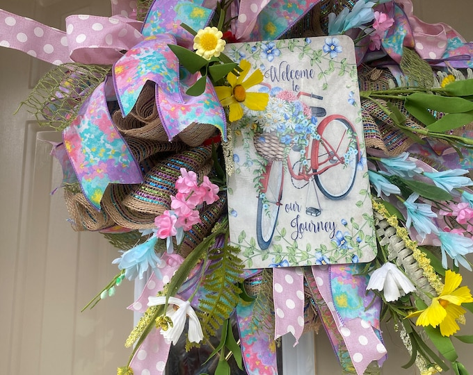 Spring Wreath, Flowers for Spring, Welcome to our Journey, Front Door Decor, Wall Decor, Friendship, Love