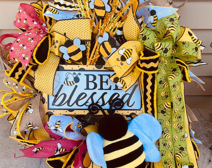 Bee Blessed, Bee Wreath, Spring Wreath, Front Door Decor, Wall Decor, Holiday Wreath, Easter wreath.