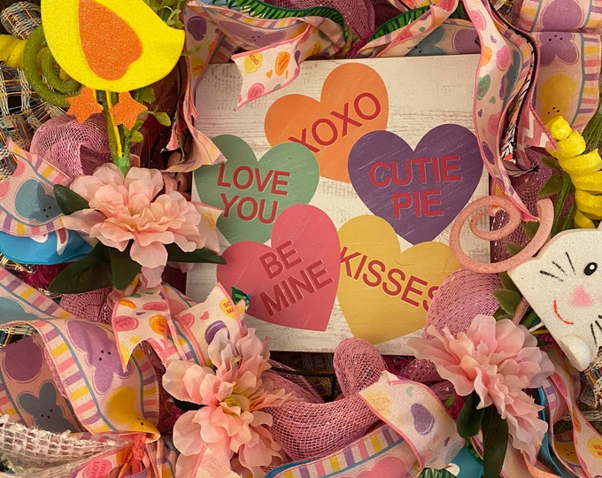 Easter Candy hearts wreath, Easter Decor, Front Door Decor, Wall Decor, Easter Fun.