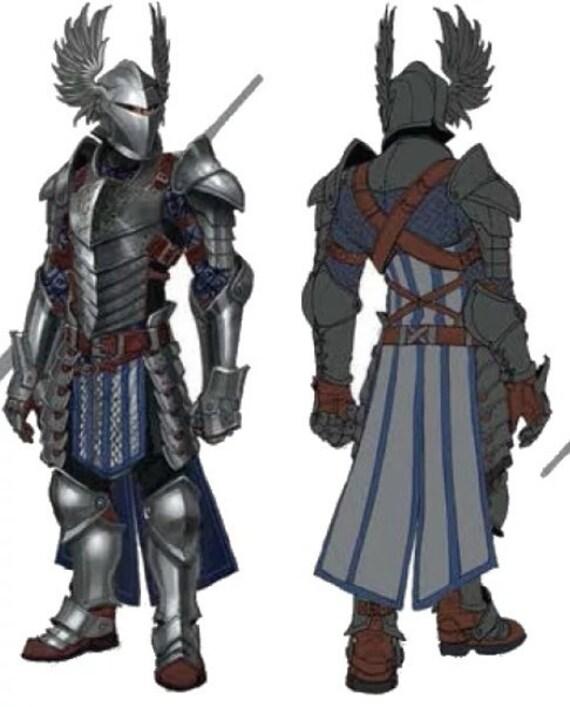 Grey Warden Mage Rogue Warrior Dragon Age 2 Cosplay Costume Hevy Armor blue  gambeson cloack gloves belt squama tunic bolero