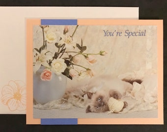You're Special, Cat and Flowers- Peach, Blue