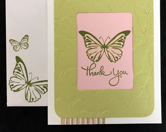 Thank You Card - Butterflies (Pink, Olive)
