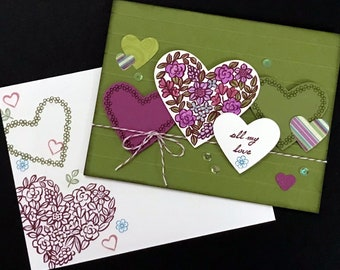 "Heart Collage - ""All My Love"" - Olive Green, Razzleberry, Berry, Floral"