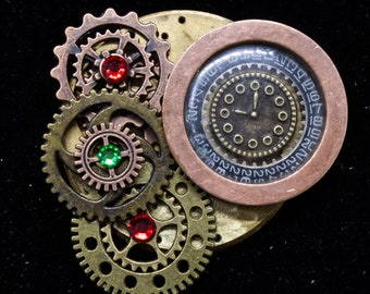 Steampunk Brooch with gears and dial