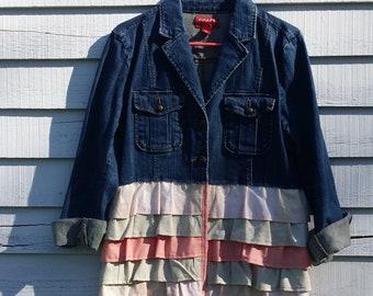 Upcycled Jacket, Denim, Ruffles, Size Large, Upcycled Clothing, Womens