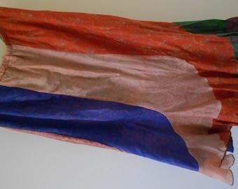 Vintage Indian sari silk long skirt