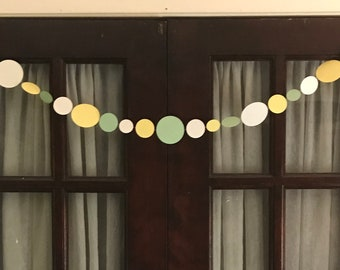 darned garland - lil bundle - speckle butter (pale yellow) fern (pale green) cardstock garland, paper, circles