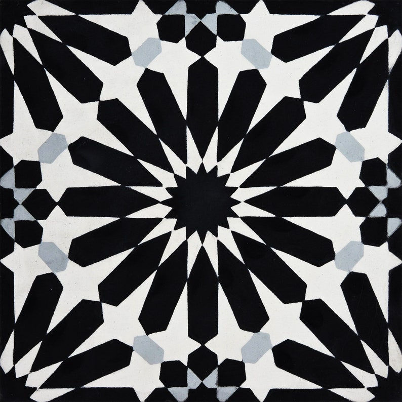8inch x 8 inch Floor /& Wall Alhambra Black and Grey Encaustic tile Moroccan Handmade Cement Tile
