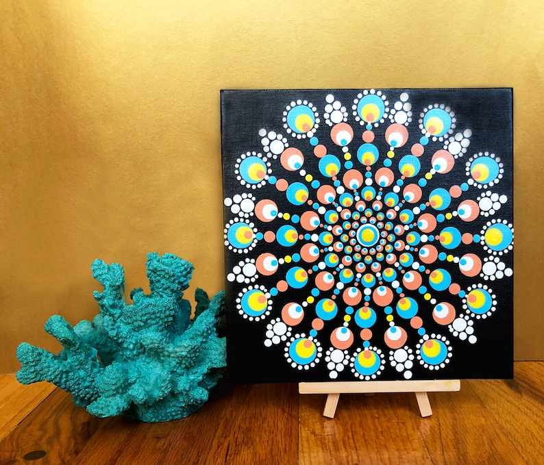 Coral And Blue Dot Mandala Acrylic Painting On Canvas Panel