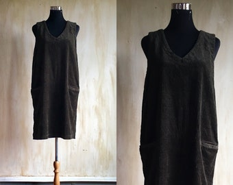 Olive Corduroy Jumper Dress size medium