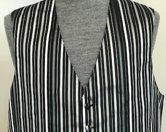 b4f52c4e4298 Mel Howard New York 90's Vintage Tuxedo Vest / Striped Black and White  Satin / Wedding Vest / Unique Style Formal Wear / Made in USA
