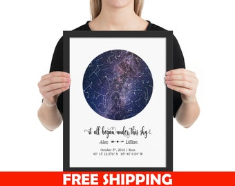 CUSTOM STAR MAP Personalized Night Sky Chart By Date Constellation Celestial Space Unframed Framed Poster Anniversary Gift For Wife Husband