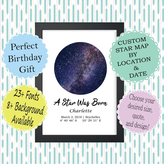 Custom Star Map By Date Digital Download Night Sky Poster