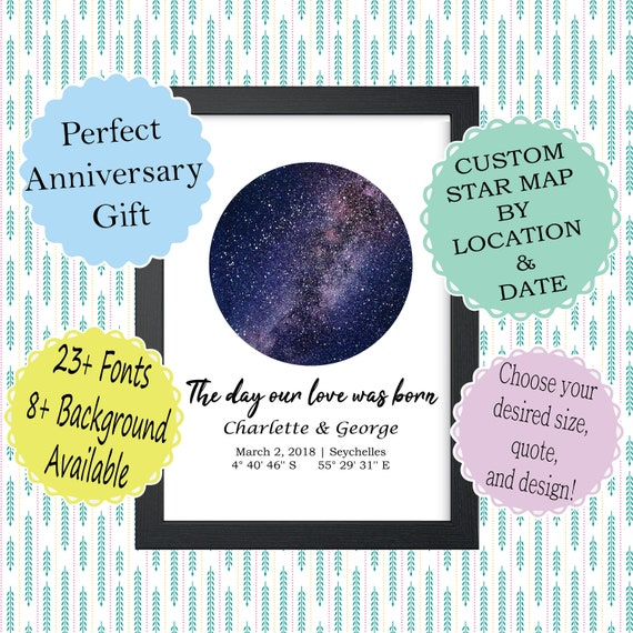 CUSTOM STAR MAP Digital Download, Personalized Night Sky Chart Printable,  Constellation Galaxy Milky Way, Anniversary Gift For Wife Husband