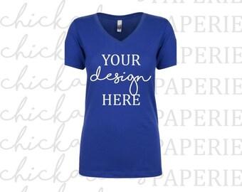 Download Free Womens Royal Blue T-Shirt Mock Up/Mockup • Next Level • Next Level 1540 • N1540 • Mock Up/Mockup Flat Lay • Shirt Mock Up • TShirt Mockup PSD Template