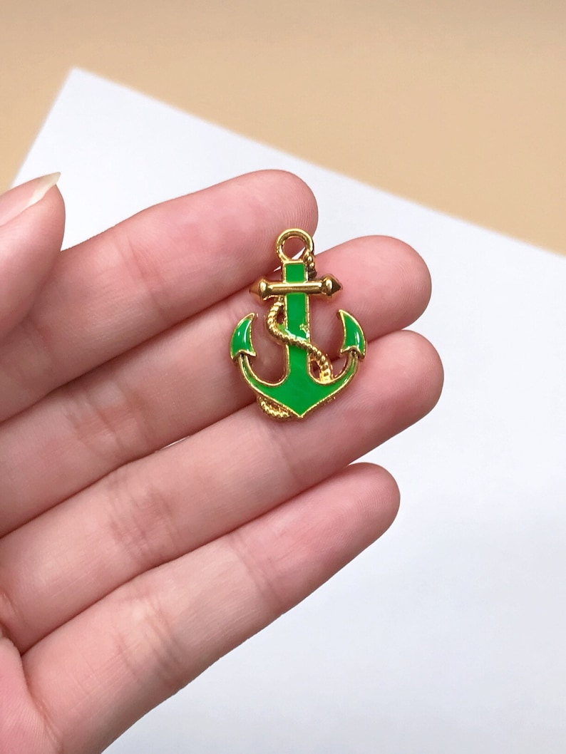20pcs Green Anchor Enamel Charms Pendants DIY Jewelry Making Necklace Keychain Zipper Pull Craft Decorating Gifts for SeafarerCaptainsLove