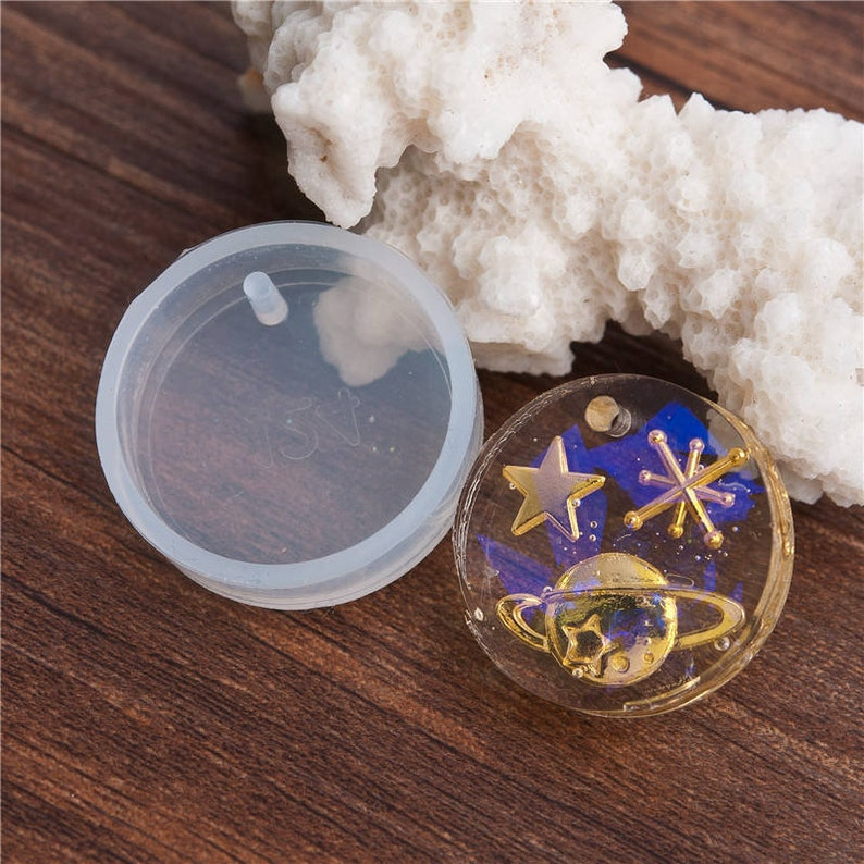 2 Round Charm Molds, Silicone Resin Molds for Jewelry, Keychain Mold,  Ornament Mold, Cabochon Mold, Flexible Molds, Silicon Mould - 170