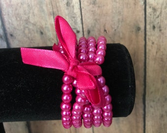 Pink Pearl Multi Layer Bracelet with Bow