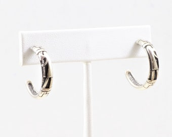 72b19aff9 Vintage Hopi Cast Overlay Sterling Silver Kokopelli Hoop Earrings-Hallmarked