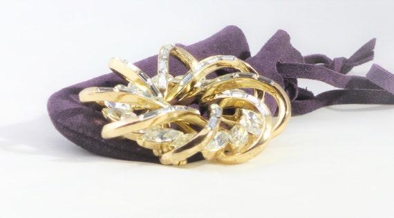 1950s Crown Trifari Baguette Crystal Rhinestone Sp