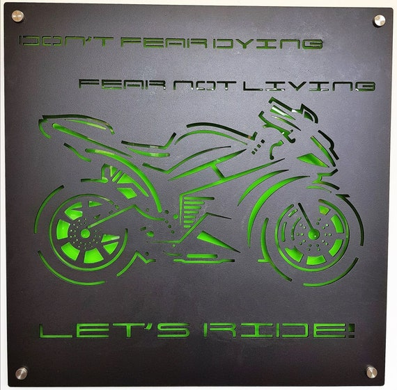 Steel rustic home decor LET/'S RIDE Metal Wall Art Word Sign BIKER Motorcycle