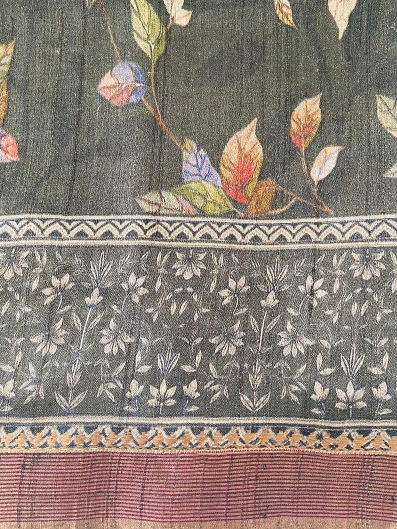 Black Banarasi Tussar Silk Digital Print Saree *FREE SHIPPING Handwoven and digitally printed