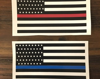 Thin Blue Line or Thin Red Line Vinyl Decal