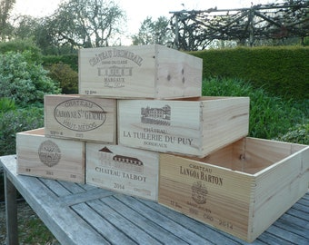 5 Pack Of Mixed Genuine French Wooden Wine Crates Boxes Home Office Storage Excellent Quality Home & Garden