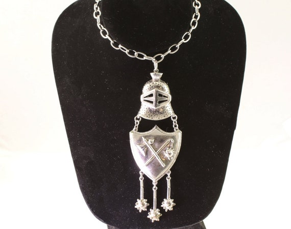 Medieval Shield And Helmet Necklcce