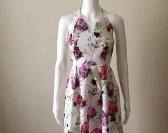 Linen floral print dress