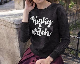 BDSM Clothes, Kinky Witch, Halloween Sweatshirt, DDLG, Submissive Clothes, Gothic Fashion, Alternative, Wicken Gift, Suggestive (Sweatshirt)