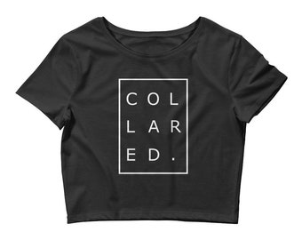 Collared Crop Top BDSM Modern Discreet submissive slave little gift for bottom ddlg trendy black white (Women's (White Lettering)