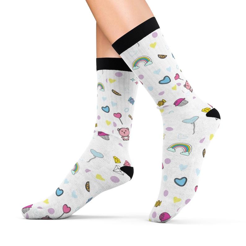 ddc5034535929 DDLG socks CGL Cute Pink White Rainbow Stuffie Hearts Balloons Socks gift  for Little (One Size Socks) - C
