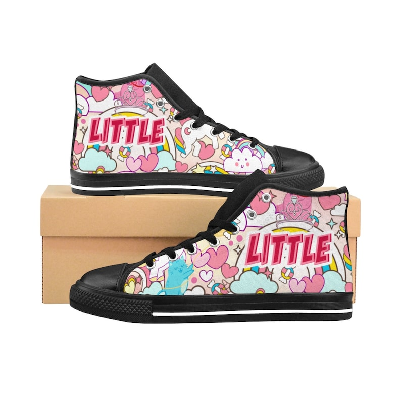cfdf4e81a3399 DDLG Little Sneakers BDSM MGL cgl Sneakers Clothing Outfit Cute Pink  Unicorn Cats Hearts Rainbows (Womens High Top Sneakers) - C