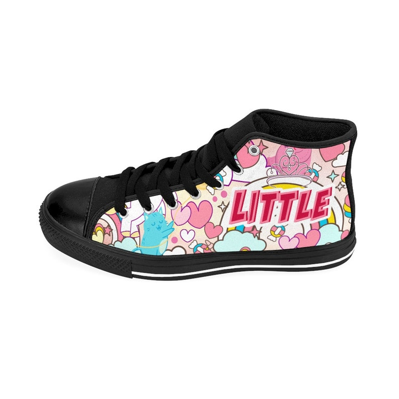 7d51b09e2cbf9 Little Sneakers DDLG BDSM Sneakers Clothing Outfit Cute Pink Unicorn Cats  Hearts Rainbows (Womens High Top Sneakers)