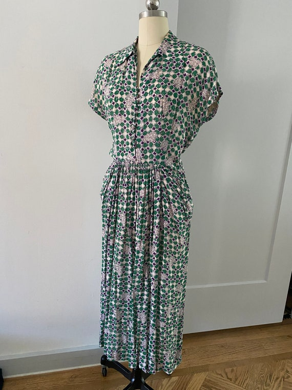 Incredible 40s Novelty Print Cold Rayon Dress w/ c