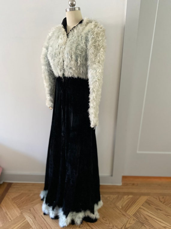 1930s/ 1940s One of a Kind Marabou Feather Velvet