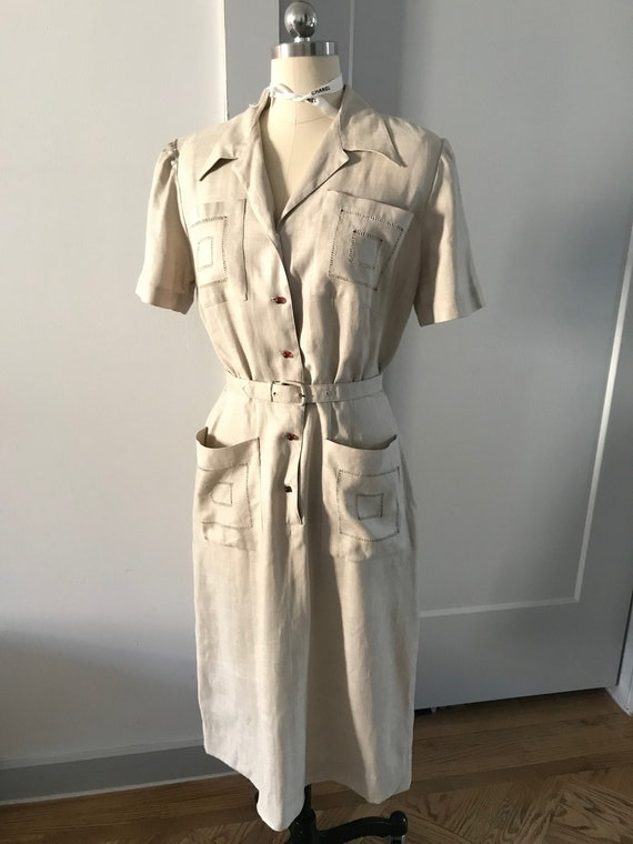 Cream Linen Vintage L'Aiglon dress 40s or 50s