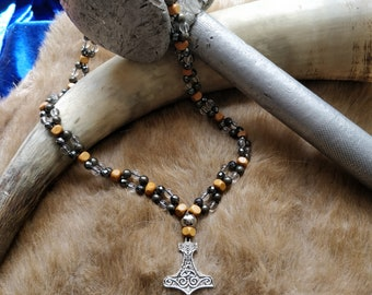 Double gem necklace Thor's hammer