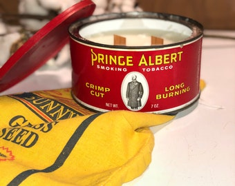 Prince Albert Tobacco soy tin candle