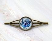 Blue flower hair slide, Floral hair accessories