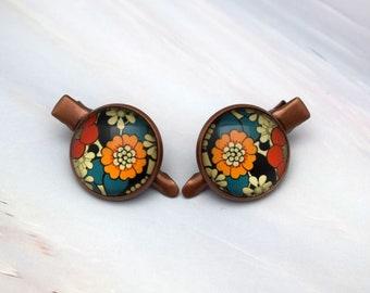 Colourful flower hair clip set, Flower hair accessories