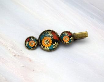 Yellow flower hair clip, Floral hair accessories